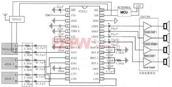 PT2313和TDA7388组成的音频处理和功率放大输出电路