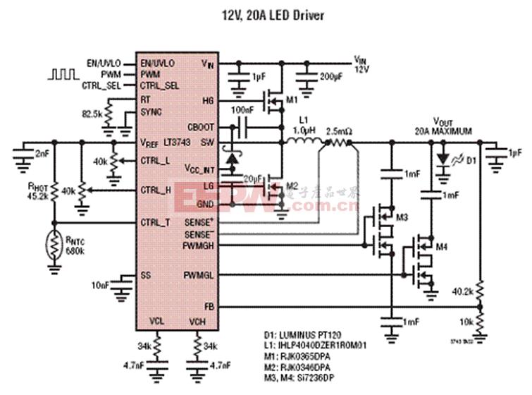 Linear LT3743 20A效率92% LED驱动方案