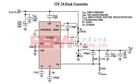 Linear LTC3824 4-60V输入降压DC转换器应用方案