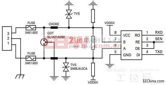 放受损或失效.5V输出的直流稳压电源,在其稳压输出端加上SMBJ5图片