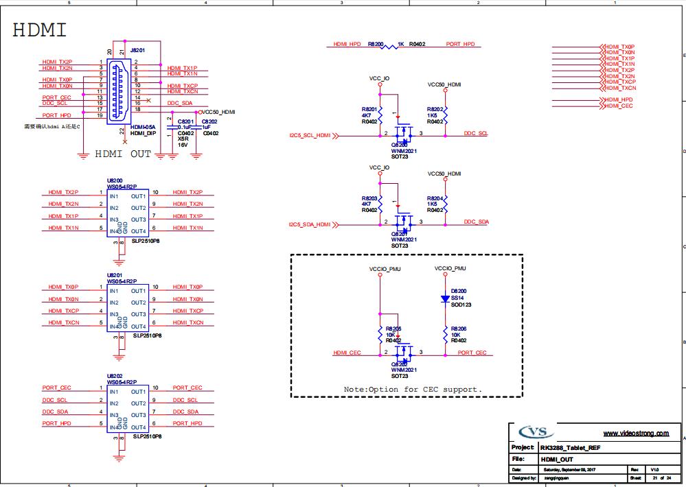 嵌入式VS-RK3288板卡硬件原理图资料HDMI分享