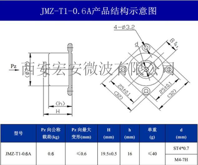西安宏安电子元件防震动用-JMZ-T1-0.6A摩擦阻尼隔振器