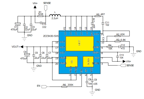 ZCC9430内置MOS同步升压芯片,高耐压大功率QFN20