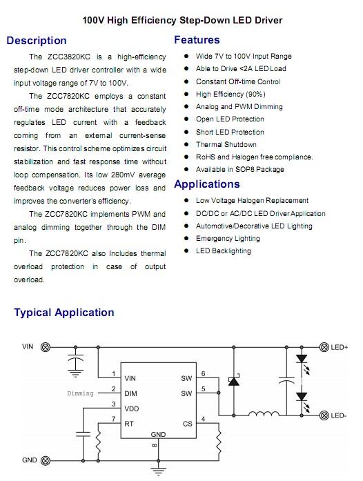 7-100V降压恒流输出无极调光LED驱动芯片ZCC3820
