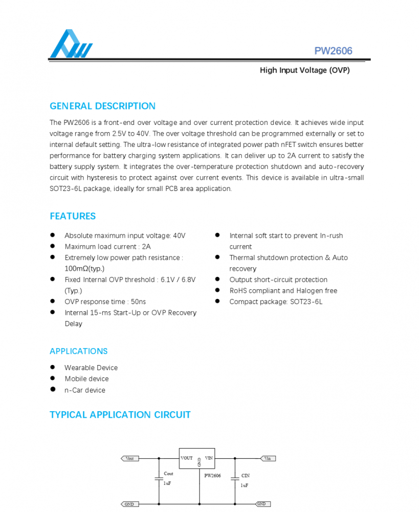 过压保护芯片,高输入电压(OVP)