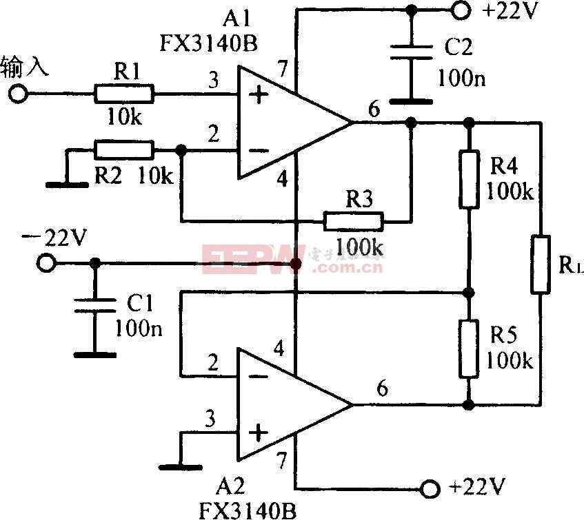 输出80Vp-p悬浮负载放大电路图