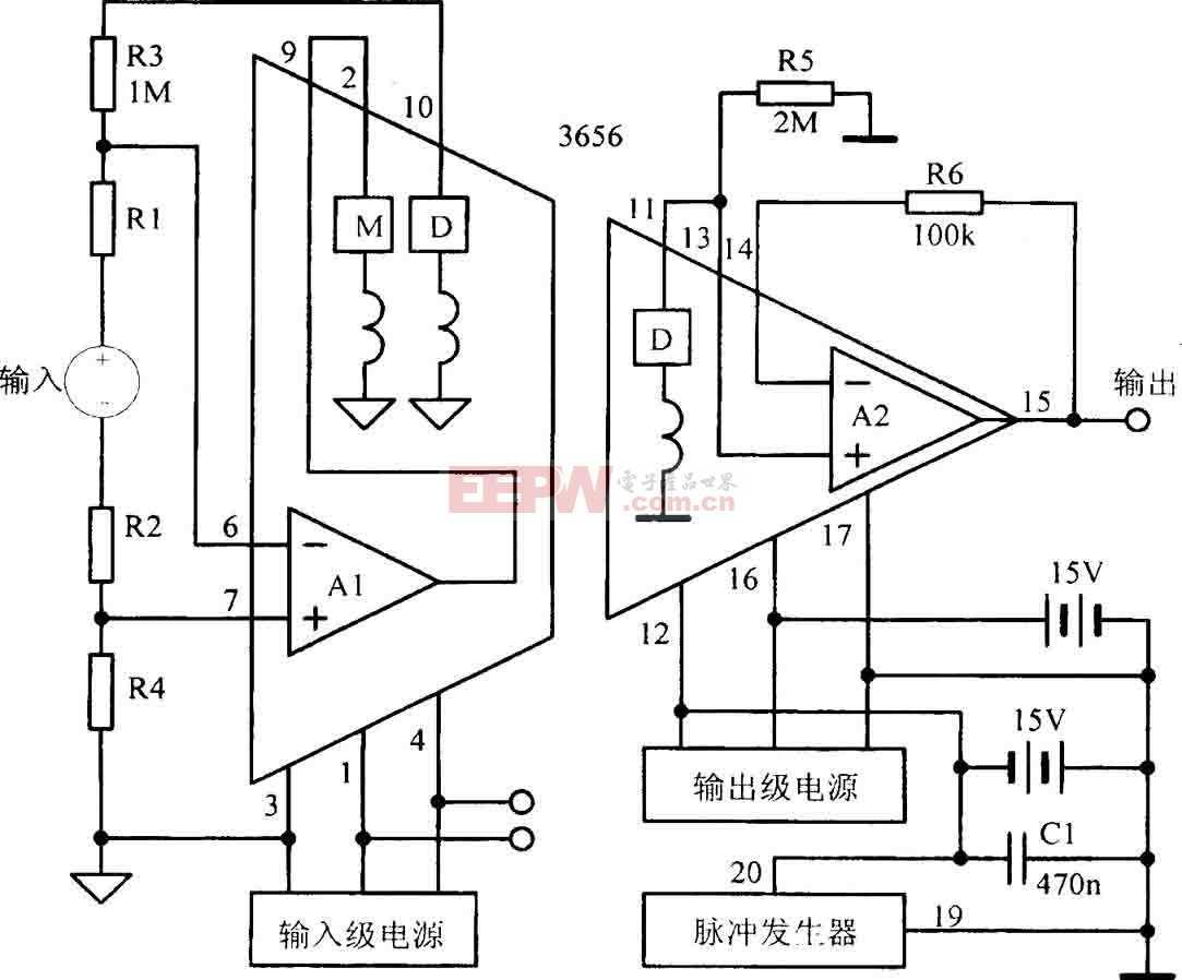 浮置信号源差动输入隔离放大电路图
