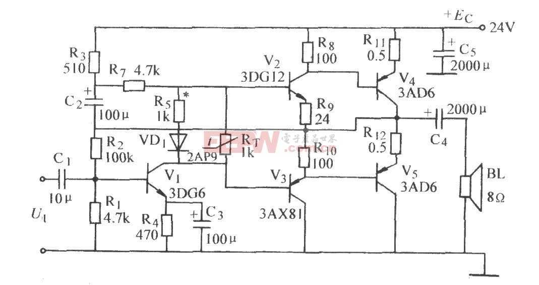 互补对称功率放大电路图