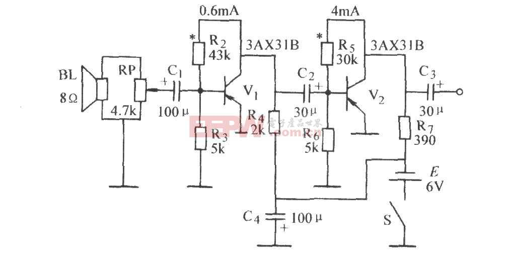 音量可调阻容耦合放大器电路图