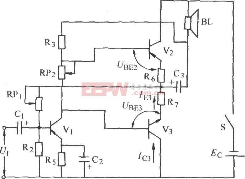 辅助对称式OTL功率放大电路图