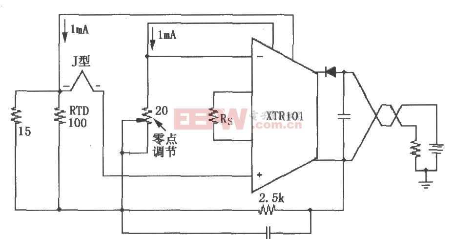 XTR101構成的具有RTD冷端補償的熱電偶輸入電路圖