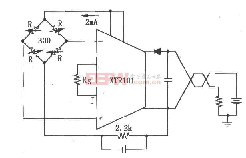 XTR101電橋輸入、電流激勵電路圖