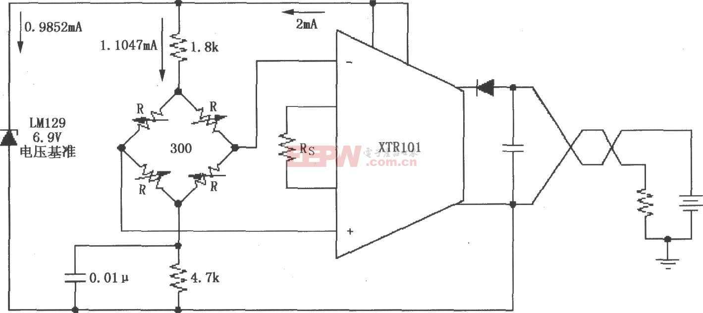 XTR101電橋輸入、電壓激勵電路圖