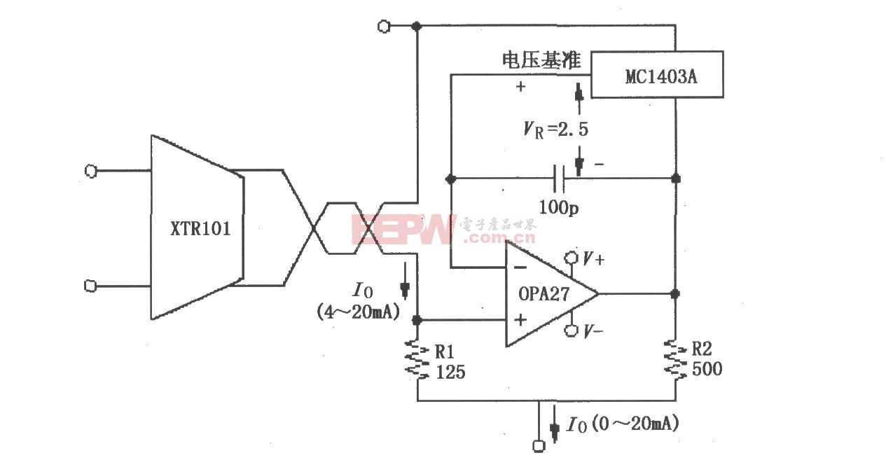 XTR101 0~20mA輸出變換電路圖