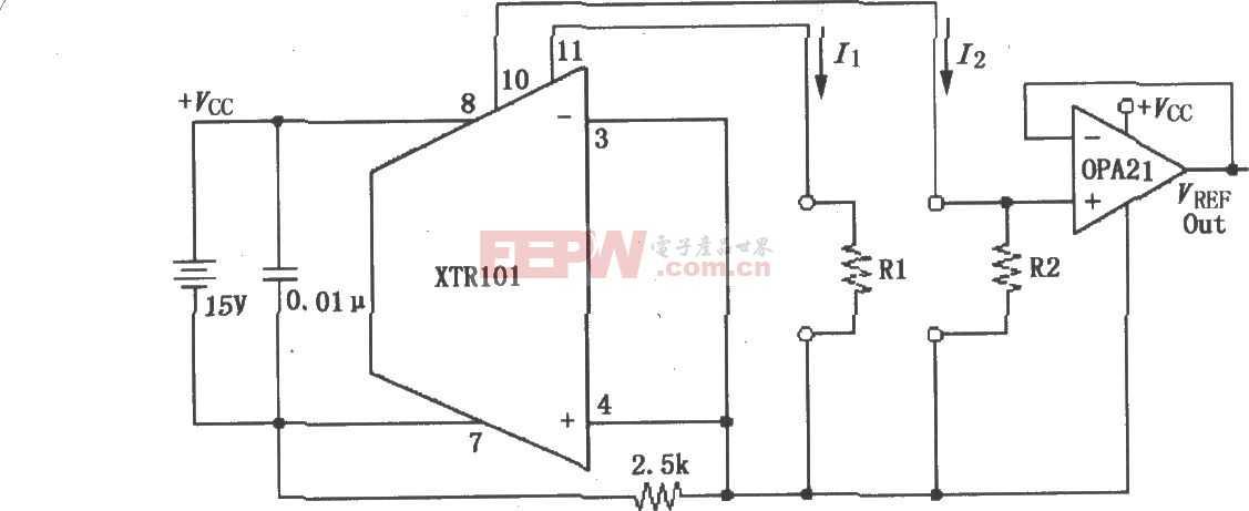 由單電源供電的精密雙電流源電路圖(XTR101)