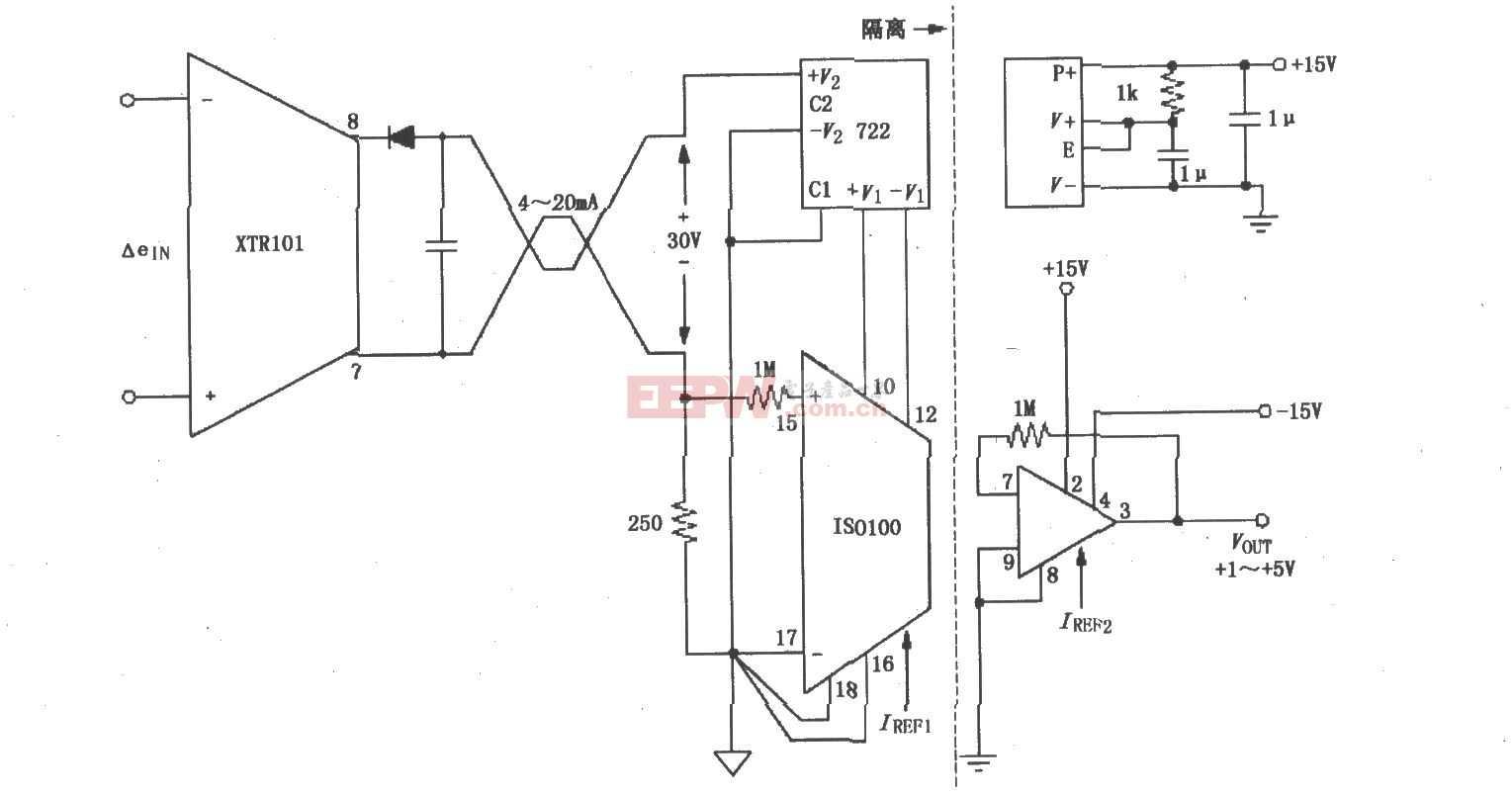 隔離式兩線電流環電路圖(XTR101、ISO100)