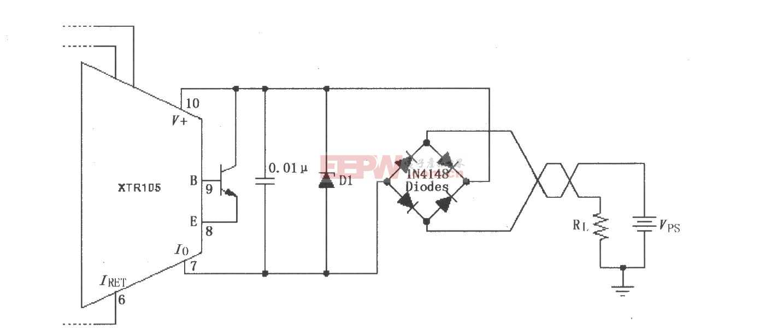 XTR105反向电压和浪涌过电压保护电路图