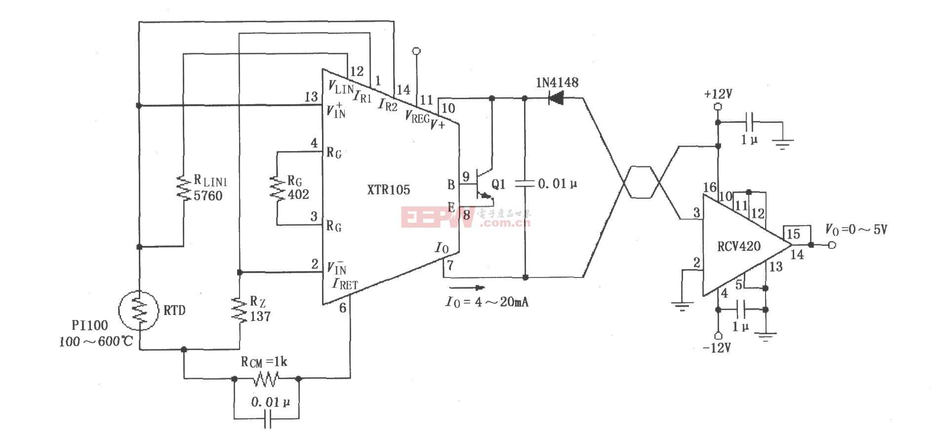 XTR105、RCV420組成的±12V供電的發送/接收環電路圖