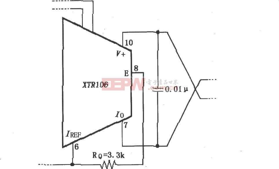 XTR106无外部晶体三极管工作方式的电路图