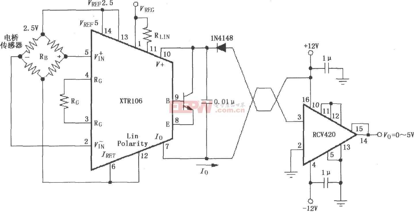 XTR106和RCV420構成的±12V供電的發送/接收環電路圖