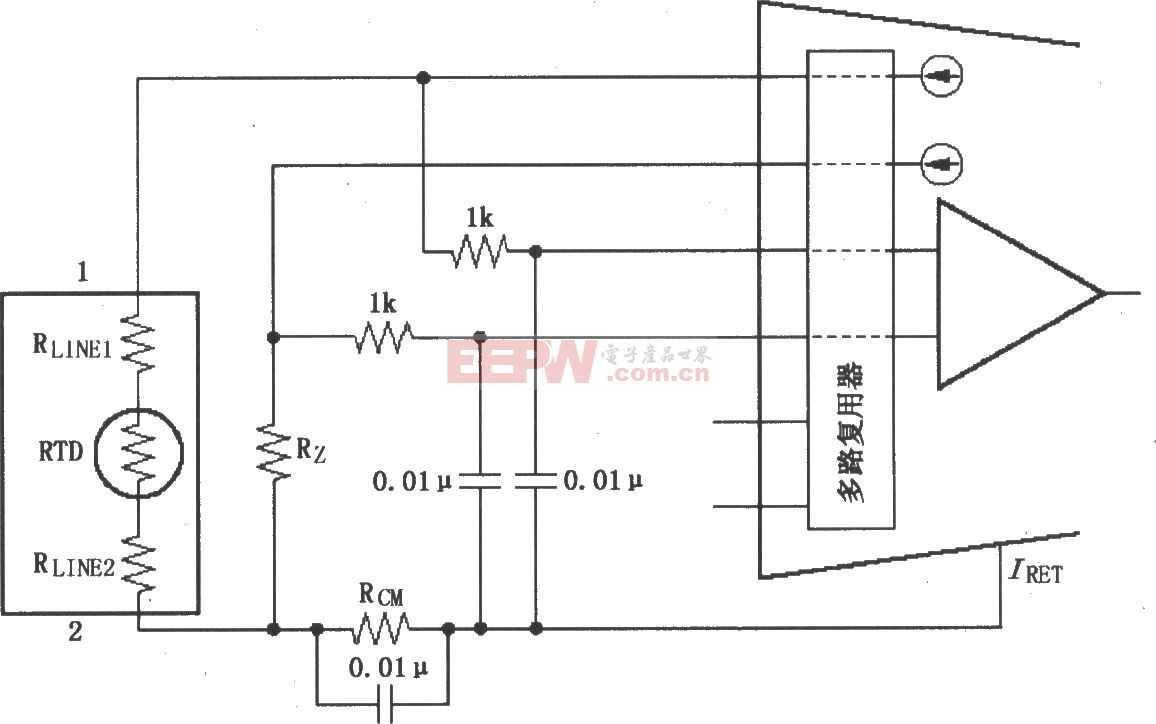 两线RTD连接电路图(XTR108)
