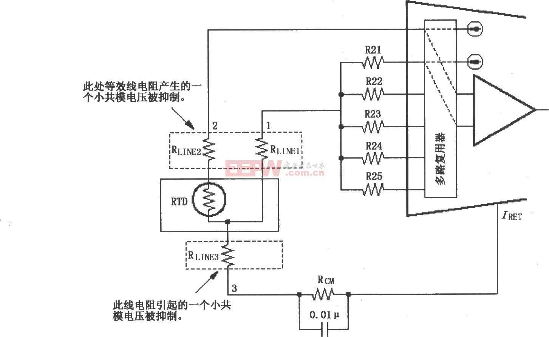 XTR108三线RTD连接电路图