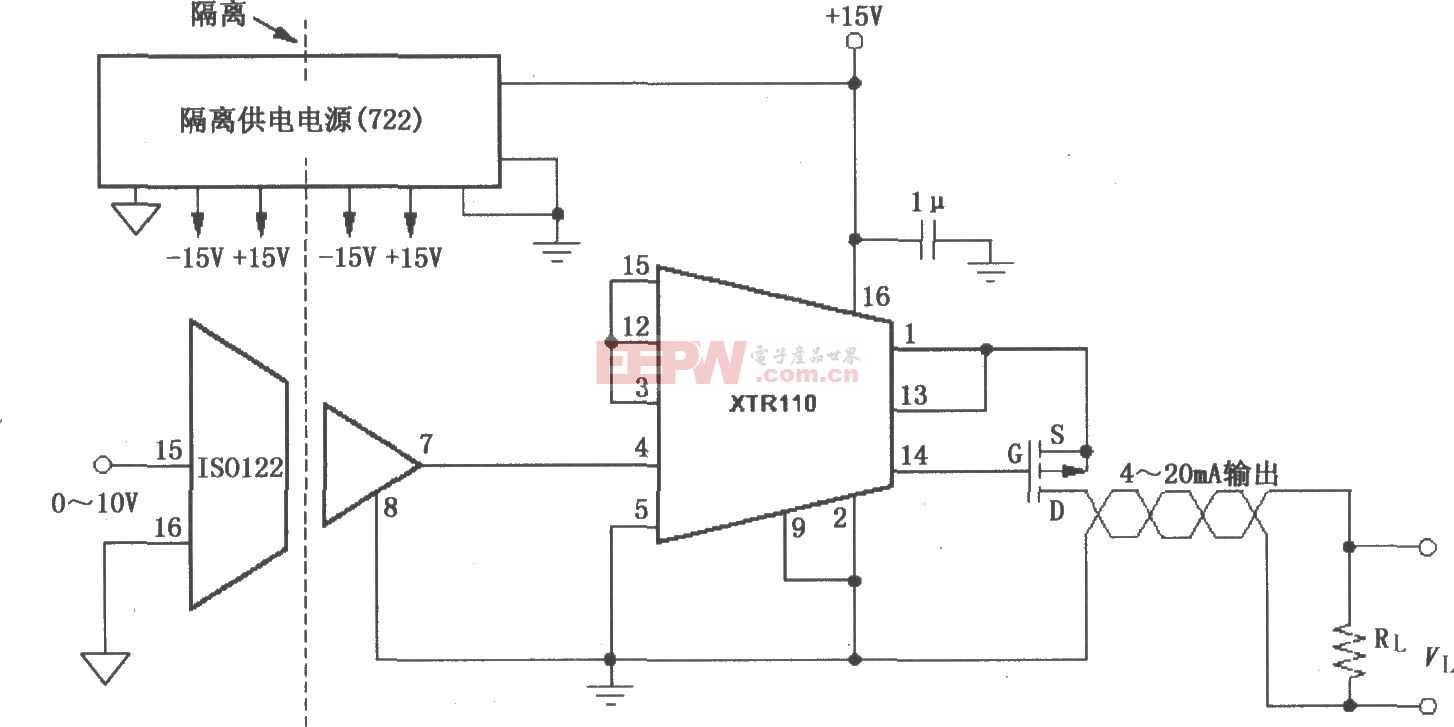 XTR110隔离式4~20mA变送器电路图