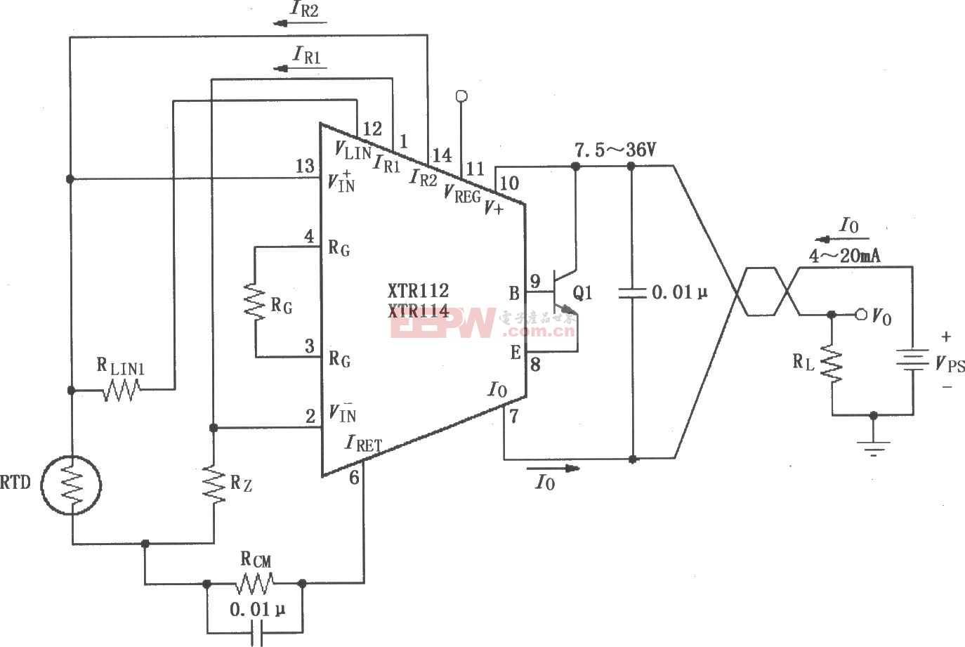 XTR112/114基本两线RTD温度测量电路图