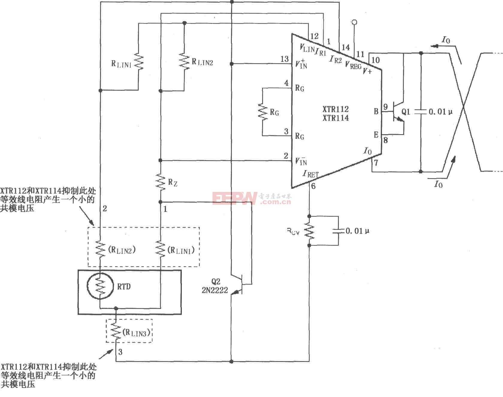 XTR112/114三线远程电阻式热探测器连接电路图