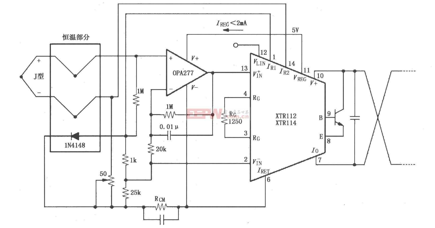 XTR112/114热电偶环路测量电路图