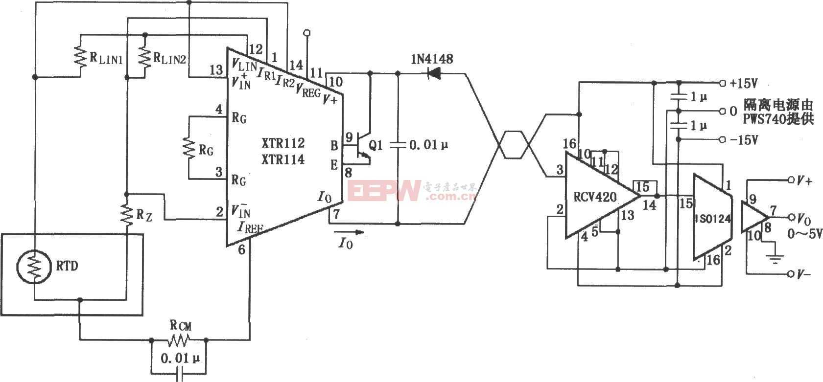 XTR112/114隔离式发送/接收环电路图