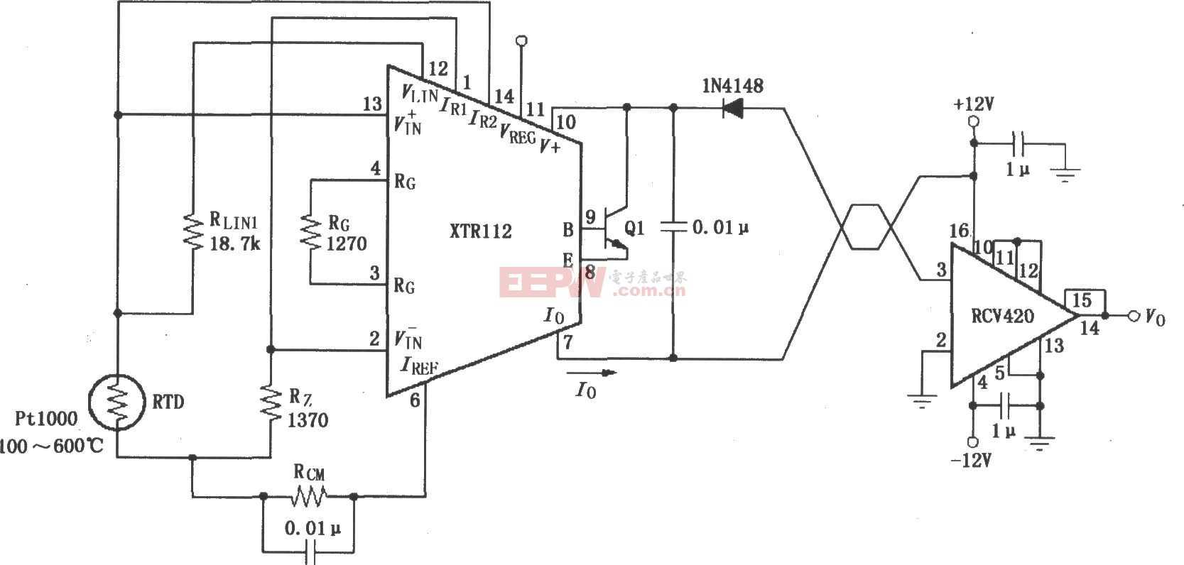 XTR112、RCV420组成的发送/接收环电路图