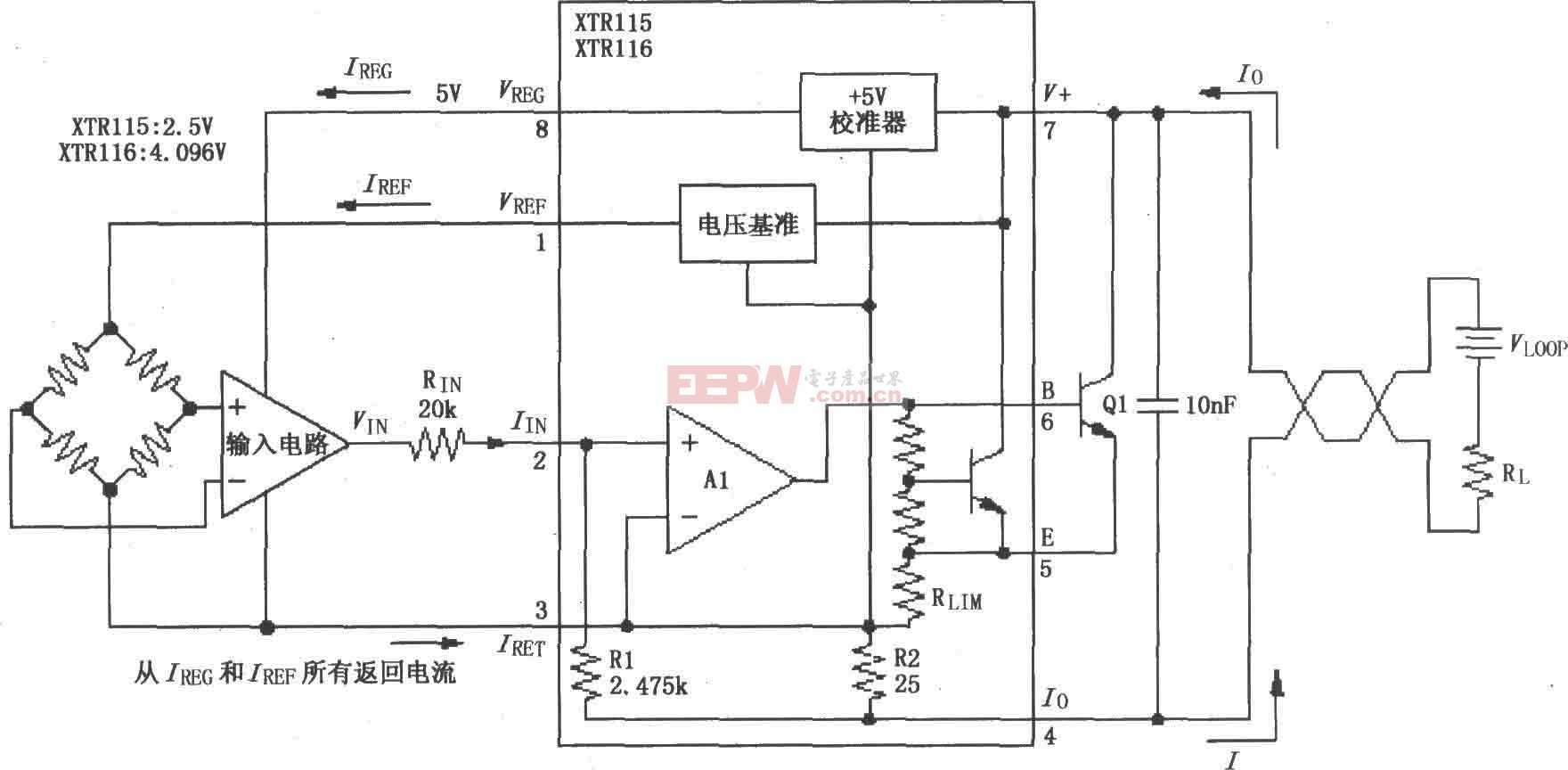 XTR115/116基本连接电路图