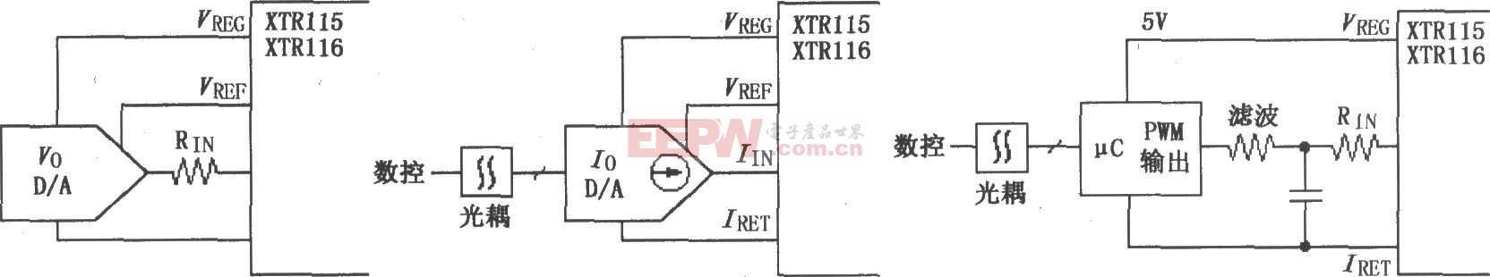 XTR115/116采用数控方法的电路图