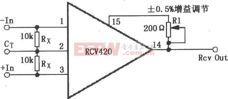 RCV420增益可调节电路图