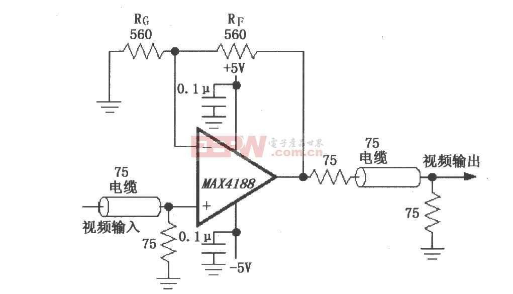 由MAX4188構成的視頻線驅動放大器電路圖