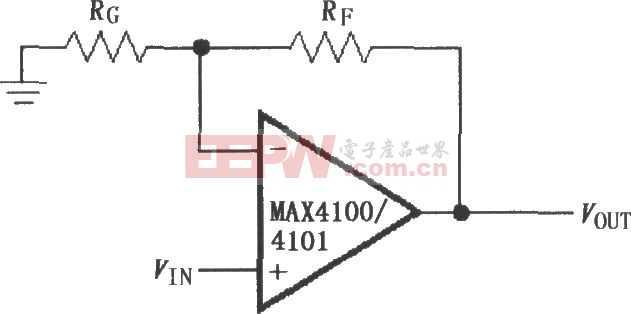 由MAX4100/4101構成的同相增益電路圖