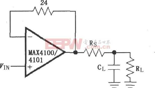 由MAX4100/4101构成的驱动电容性负载电路图