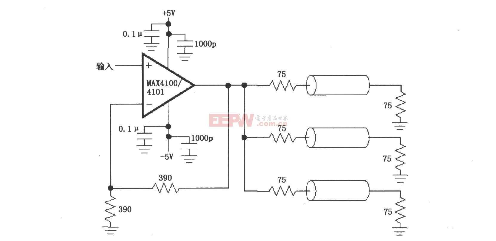 由MAX4100/4101构成的视频/射频分配放大电路图
