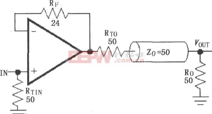 由MAX4450/4451构成的单位增益线驱动电路图