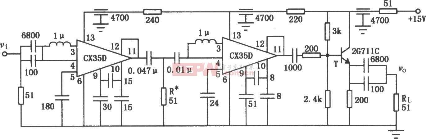 低噪声20MHz宽带放大电路图