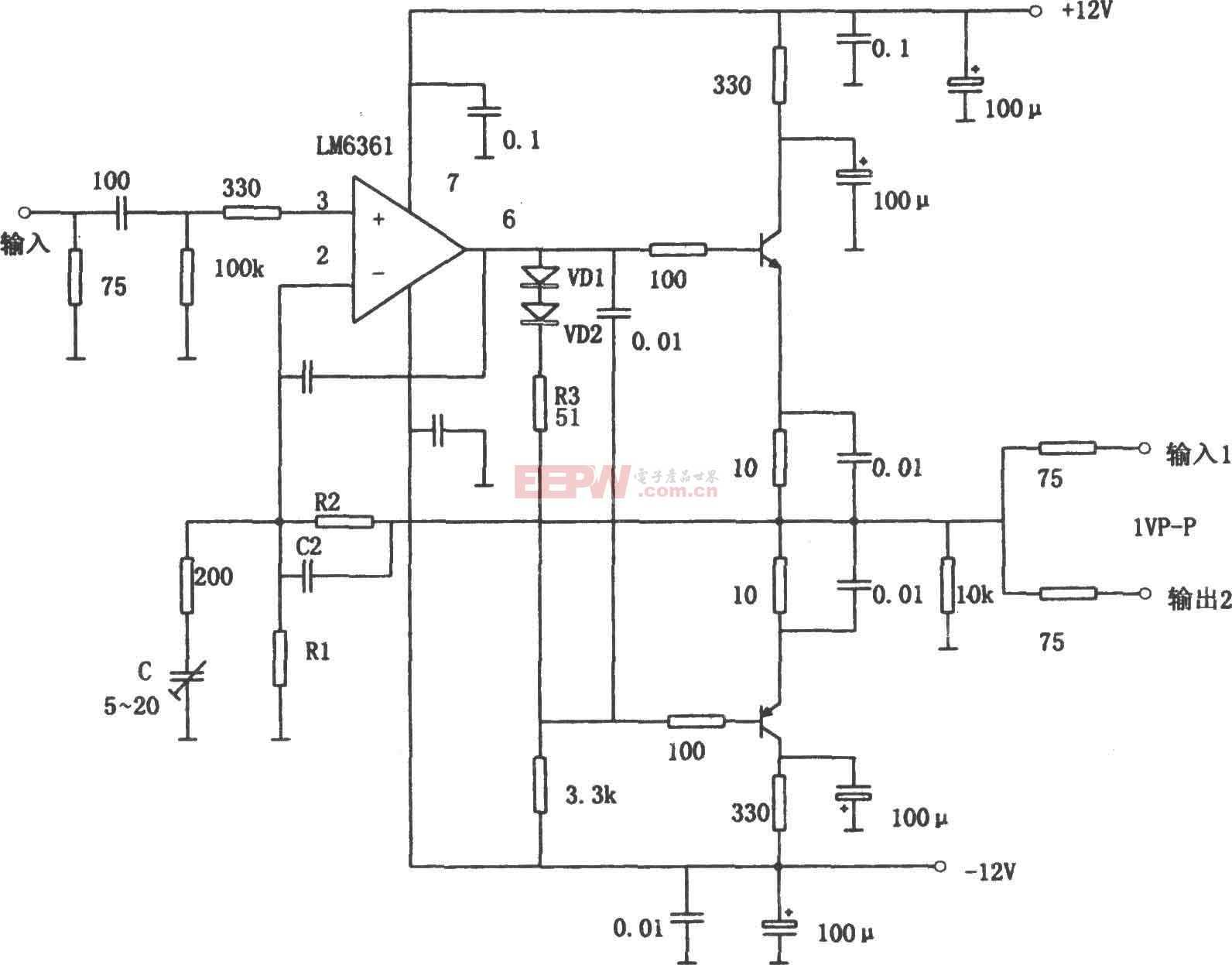 LM6361构成的用于容性负载的宽带驱动器电路图