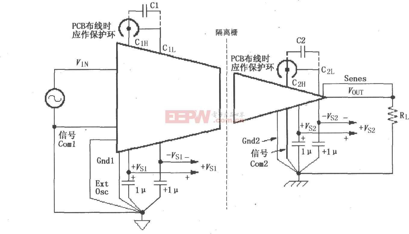 ISO120/121的信号与电源的基本连接电路图