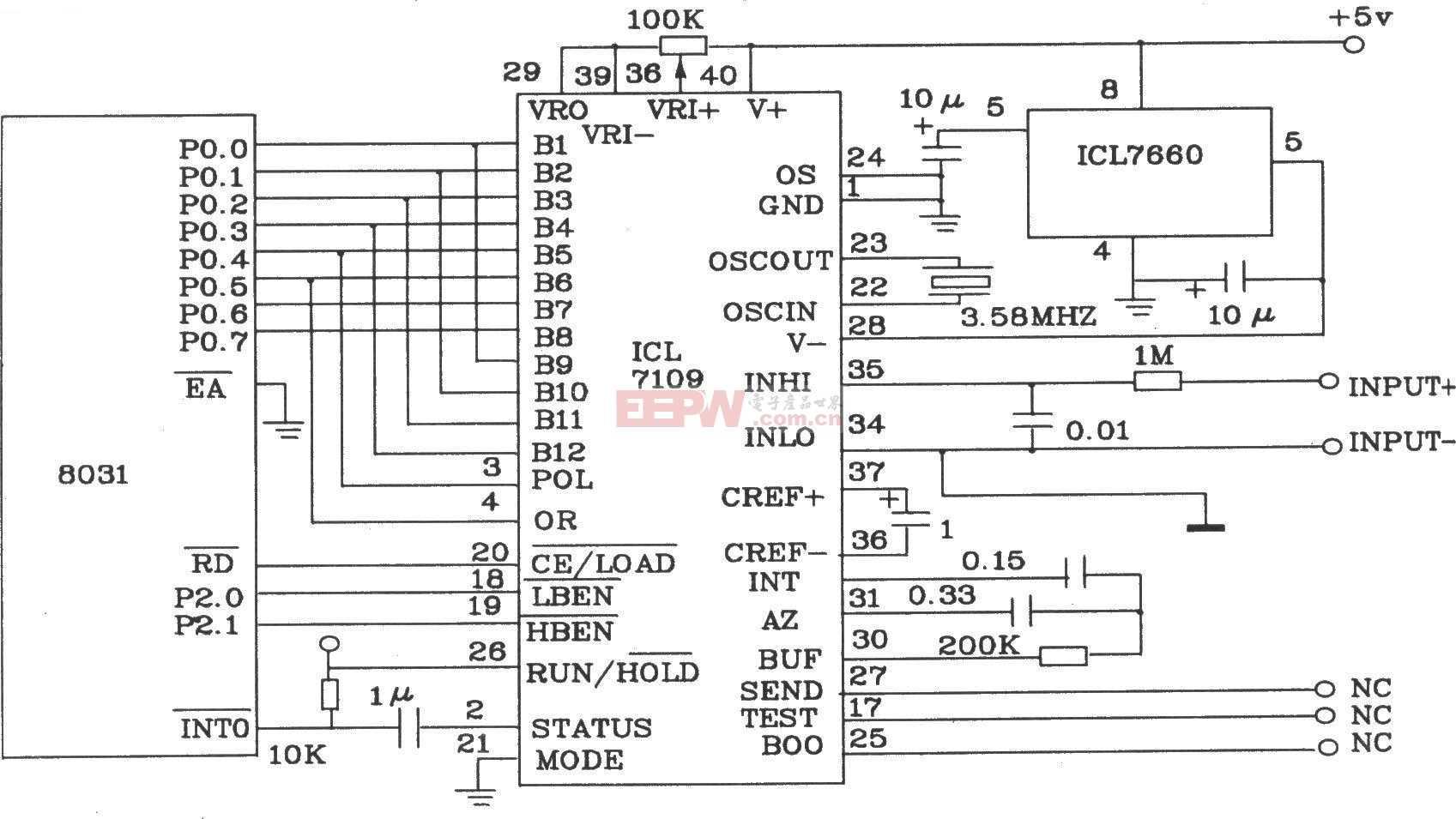 由12位双积分A/D转换器ICL7109与8031单片机构成的接口电路