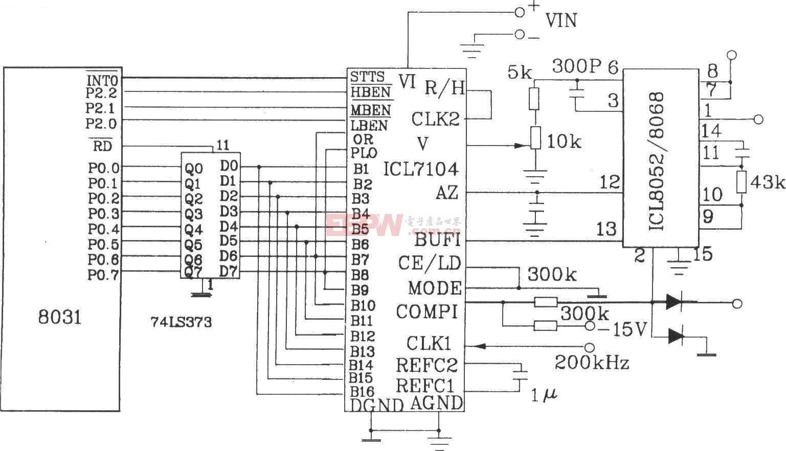 由16位积分式A/D转换器ICL7104和单片机8031的接口电路
