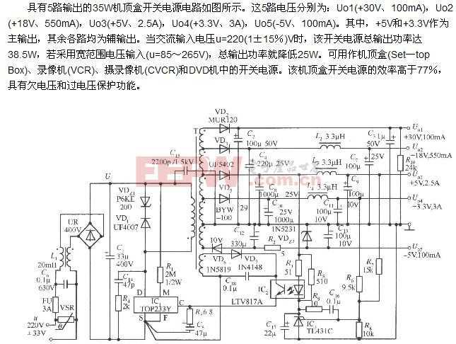 具有5路输出的35W 机顶盒开关电源电路