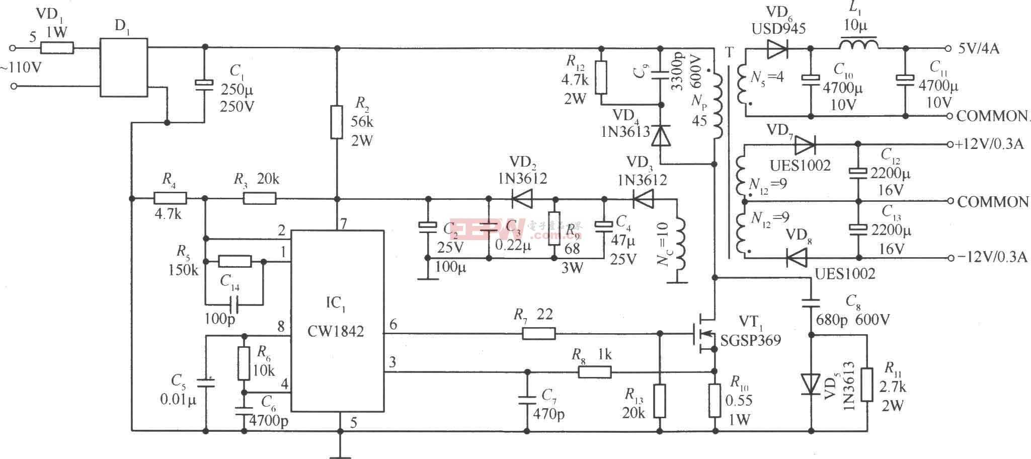 由CW1842外接功率MOS管组成的隔离式开关稳压电源电路