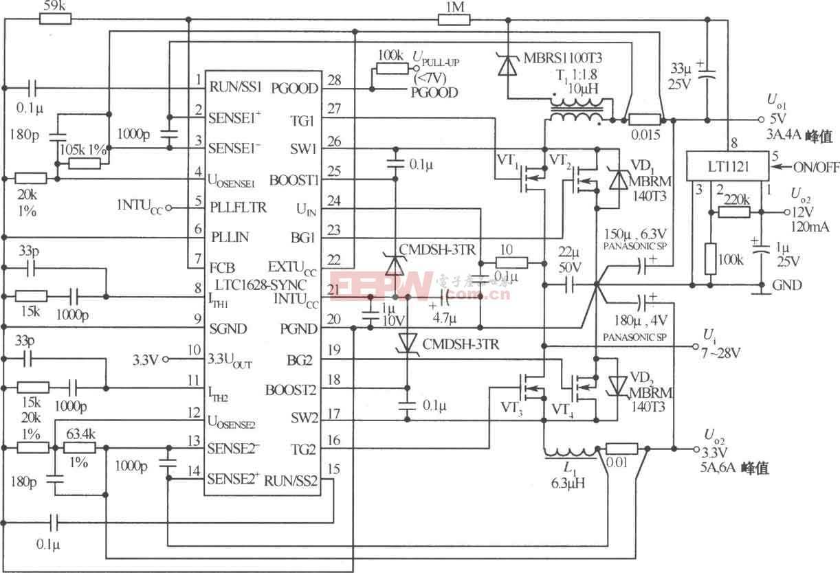 由LTC1628-SYNC构成的输出为5V/3A,12V/120mA,3.3V/5A三路直流稳压