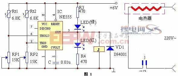 用NE555制作的恒温控制器