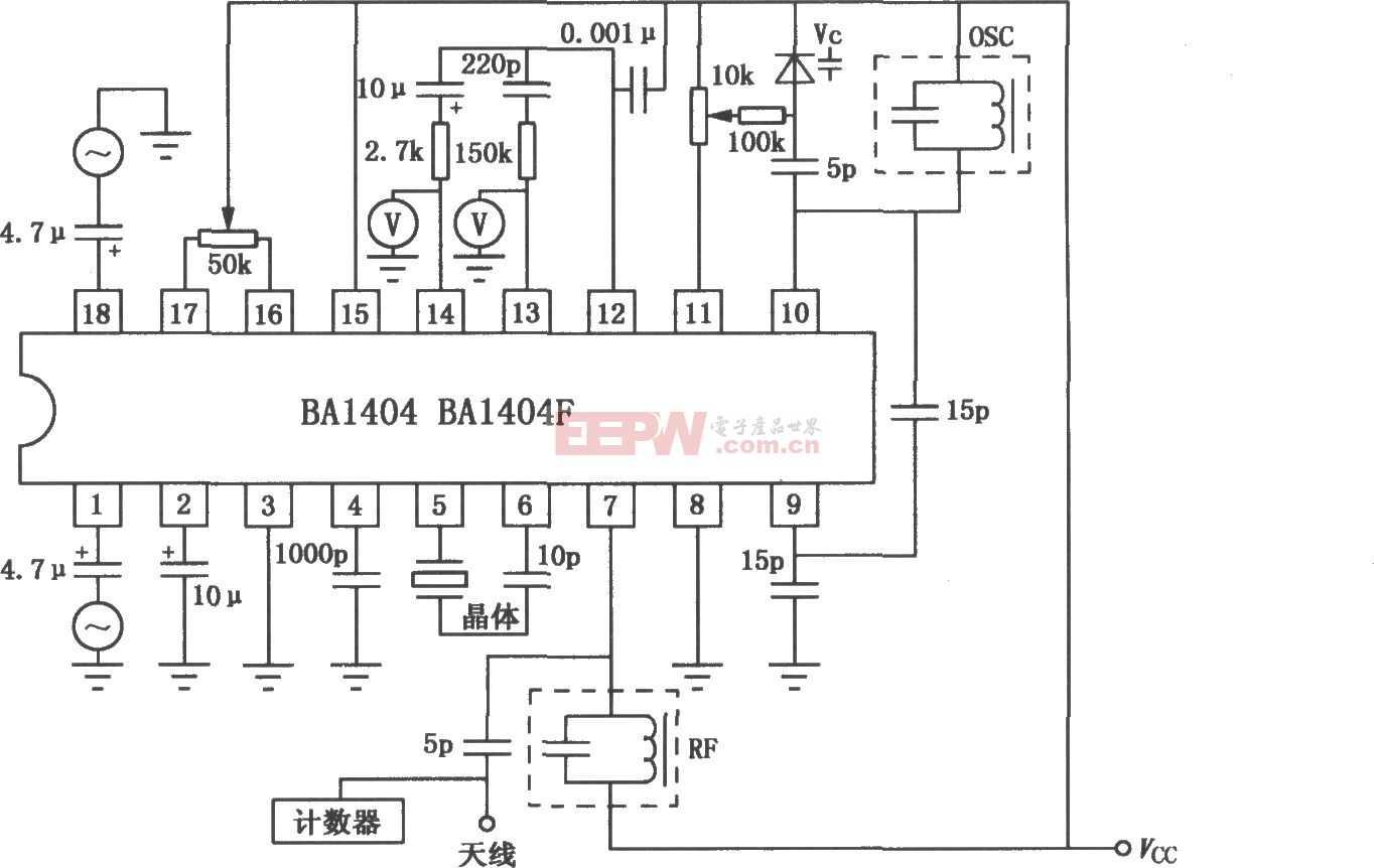 BA1404/1404F FM立体声发射机电路图